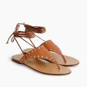 NWT J.Crew Ankle-Tie Studded Leather Thong Sandal